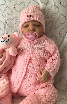 OH SO PRETTY Knit Baby Doll Outfit For Reborn Infant Newborn PINK
