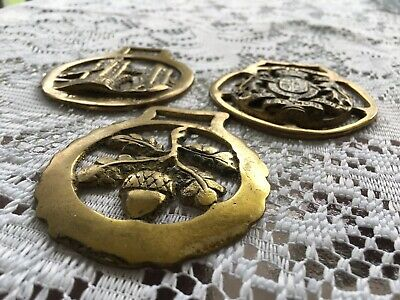3 - Vintage Brass Medallions - Horse Bridle Harness Ornaments Lot