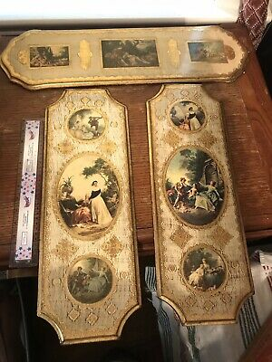 Large Gold Gilt Wood Italian Florentine Set Of 3 Pictures Plaques Italy Ornate