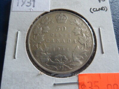 1931 Canada Silver 50 Cent Piece-Low Mintage-19-448