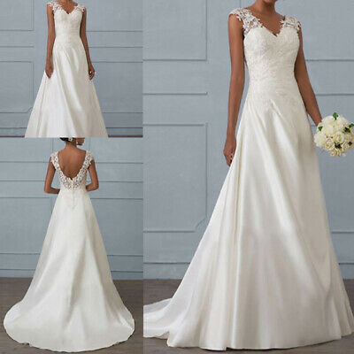 Women White Wedding Maxi Dress V-Neck Backless Sleeveless Bridal Party Gown