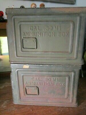 2 WWII US Army Ammo Can CAL 30 M1 CROWN Flaming Bomb Ammunition Box No Reserve