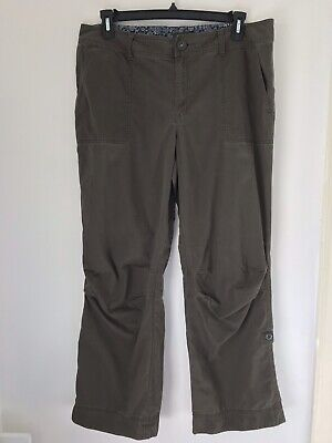 EDDIE BAUER Women's Size 16 Khaki Green Button Up Convertible Cuff Capri Pants