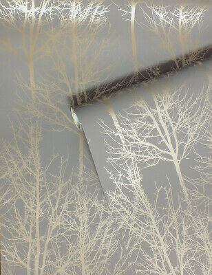 Grey & Rose Gold, Tree Design, Smooth Finish, Statement Feature Wallpaper 61