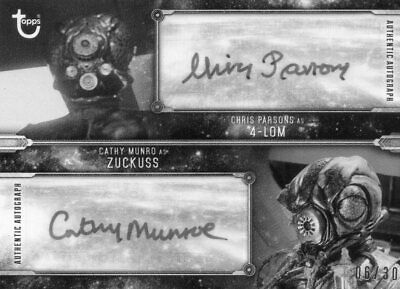 STAR WARS TOPPS BLACK & WHITE DUAL AUTOGRAPHED CARD ZUCKUSS & 4-LOM #ed 6/30