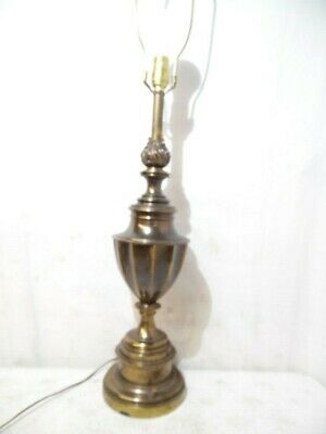 "Stiffel Vintage Solid Aged Brass Electric Table Lamp Night Light Fixture 36"" USA"