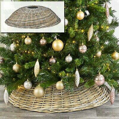 Large Willow Christmas Tree Skirt Xmas Wooden Wicker Natural Base Cover Stand