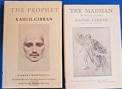 Vintage Lot of 2 Kahlil Gibran HC/DJ Books 1980 The Prophet/ 1973 The Madman EUC