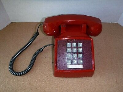 """Vintage Bell Systems Push Button Table Top Telephone Red """" Bat Phone """" Works"""