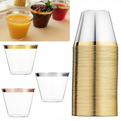 Supplies Rose Gold Birthday Party Transparent Tableware Disposable Plastic Cups