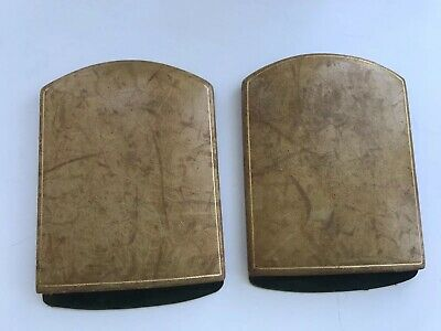 Vintage Leather Hinged Book Ends Made For Harrods London