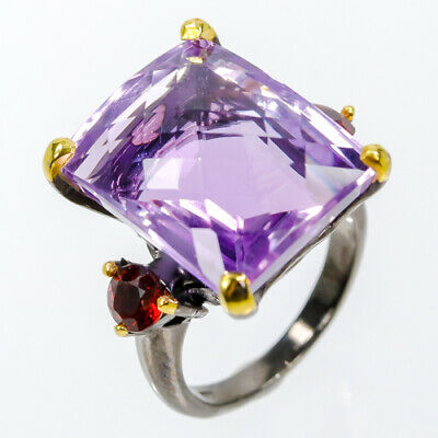 Unique Ring28ct  Natural Amethyst 925 Sterling Silver Ring Size 7.5/R42656