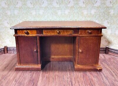 Dollhouse Miniature Desk 3 Drawers 2 Doors Opening 1:12 Scale Walnut Finish