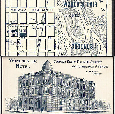 Chicago Worlds Fair 1893 Map Winchester Hotel Columbian Exposition Trade Card