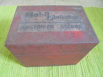 Vintage Mobil Oil Lubrication SOCONY CUSTOMER RECORD Box Gas Garage Advertising