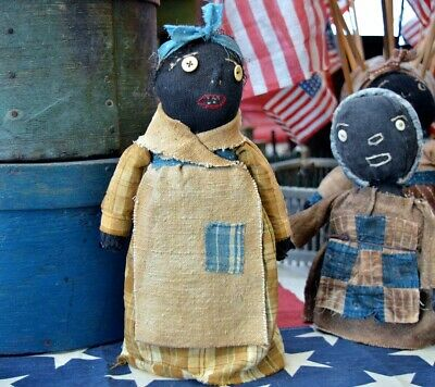 Handmade Primitive Folk Art Black Bottle Doll