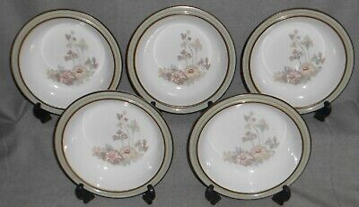 Set (5) Denby Handcrafted ROMANCE PATTERN Rimmed Soup Bowls MADE IN ENGLAND