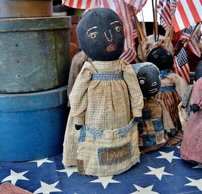 Large Handmade Folk Art Primitive Stockinette Black Bottle Doll