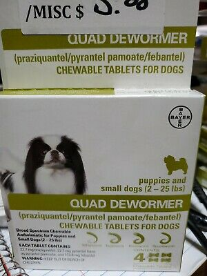 Bayer Quad Dewormer SMALL Dogs (2-25lbs) 4 Chewable Tablets NEW EXP 06/2019!!!!!