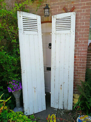 Original Vintage Rustic French Shutters. Tall, grill, colour/patina weathered.