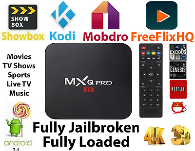 MXQ Pro 4K 64-bit Android 7.1 Smart TV Streaming Box - S905W Quad Core 2GB+16GB