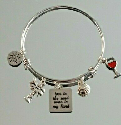 Toes in the Sand Wine in my Hand BFS4040 Beach Stainless Steel Charm
