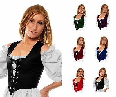 RENAISSANCE DRESS-UP VICTORIAN COSTUME MEDIEVAL CELTIC WENCH CORSET BODICE #Rg2x