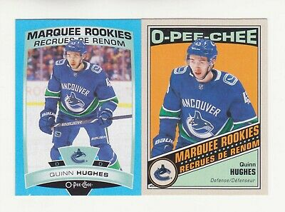 2019-20 O-Pee-Chee Quinn Hughes Retro & Blue Parallel RC Lot (19-20) OPC # 519