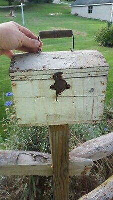 Antique vintage primitive wood small dome top chest old white paint patina AAFA