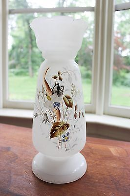 "Fab Antique Frosted Glass Large 12"" Hand Painted Footed Art Vase Floral Bouquet"