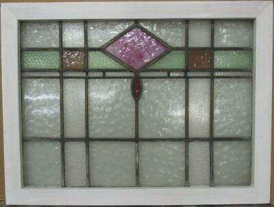 "MIDSIZE OLD ENGLISH LEADED STAINED GLASS WINDOW Geometric Band 28.25"" x 21.5"""
