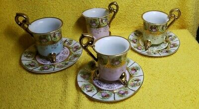 Antique Beehive Mark Demitasse Cup & Saucer with Hand Painted Victorian S
