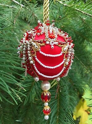 """Kit makes 1 LADY IN RED Ornament on 3"""" Silk Satin Foam Ball"""