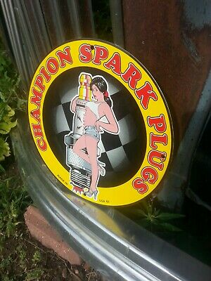 Vintage 1961 Champion Spark Plug Porcelain Sign Gas Pump Oil Battery Pin Up Nos