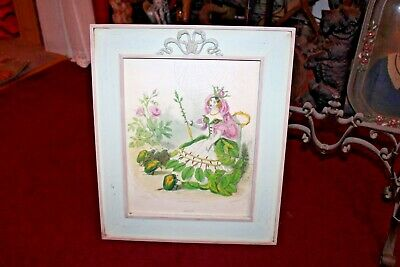 Antique Victorian Print 1800's JJ Grandville French Woman Rose Custom Frame