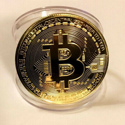 1pc Gold Bitcoin Commemorative Round Collectors Coin Bit Coin Gold Plated Coin