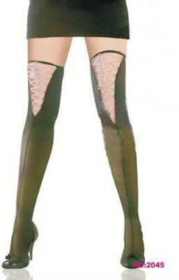 AU Ladies Fashion Black Sheer Thight High Stocking Pantyhose&Lace-up Top Hosiery