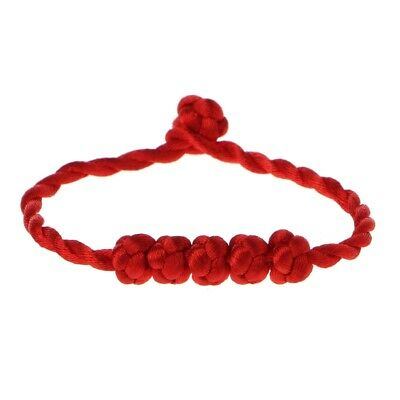 Red Chinese Feng Shui Lucky Rope Strap Bracelet 5 Knotted Beads String Jewelry