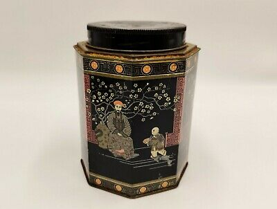 VintageTea Tin/Caddy with Chinese/Asian Black & Red design- Octagonal