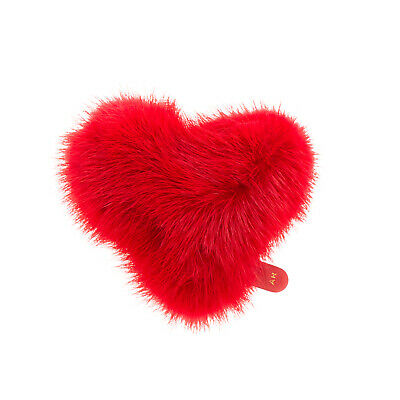 RRP €200 ANYA HINDMARCH Mink Fur Heart Sticker Leather Logo Made in Italy