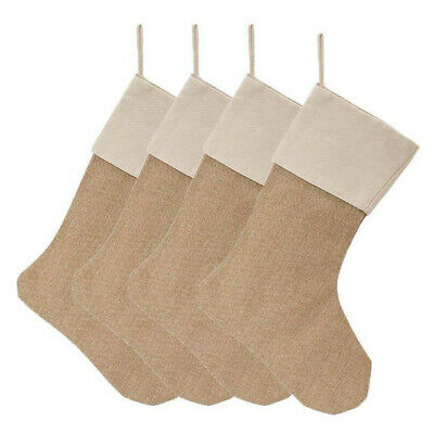 4 Packs Burlap Christmas Stockings for Christmas Decorations or DIY