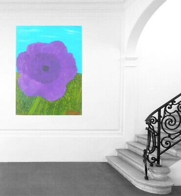 Purple Flower,Wall Art Oil Painting,Cottage Chic, Fine Art,Handmade Gift