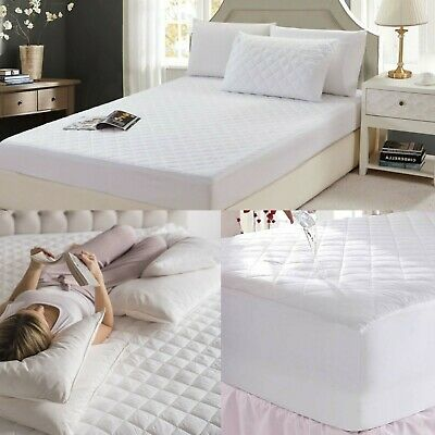Waterproof Quilted Mattress Protector Cover Double King Topper Bed Fitted Cotton
