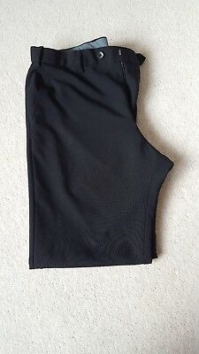 Mens black smart trousers Size W36 L29 Marks and Spencer flat front