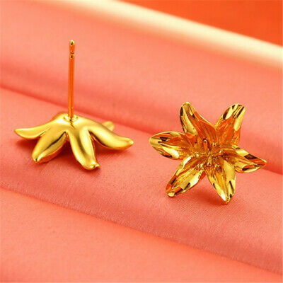 18k Gold-plated Delicate Simple Flower Earrings Earbob Classic Luxury Gift