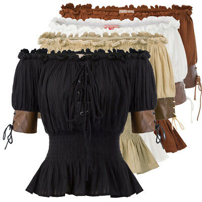 Women Steampunk Top Gothic Victorian Off Shoulder Shirt Blouse Party Costumes