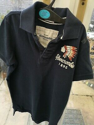 Boys Abercrombie & Fitch Blue Polo T Shirt Size Small Kids Youth Muscle Top BNWT