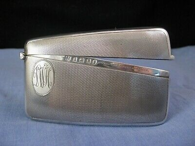 Pristine Antique Sterling Silver Curved Calling Card Case Jubilee 1935 Art Deco