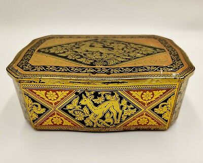 Vintage/Antique Tin/ Tea Caddy- Gold patterned lock box with fawn & deer design