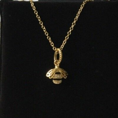 Gold Queen Bee Pendant Necklace Genuine plated Sterling Silver S925